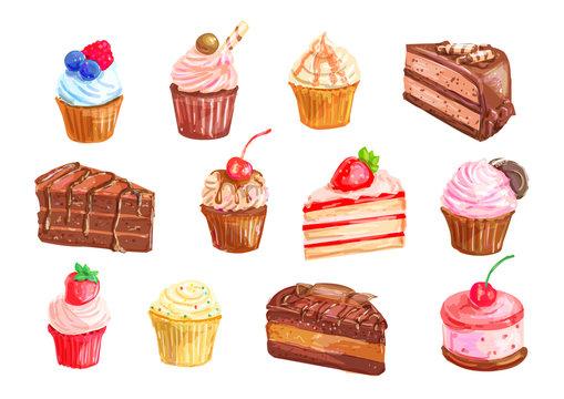 Cake and cupcake dessert watercolor set design