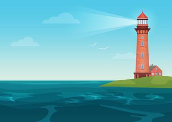 Lighthouse on on the little island cartoon landscape. Beacon in ocean for navigation vector illustration.