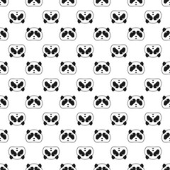 Cute Panda bear seamless pattern, black and white background. Vector illustration. Panda head and face. Design for wallpaper and fabric, web page background, surface textures.