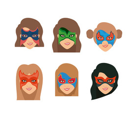 white background set face super hero women with mask vector illustration