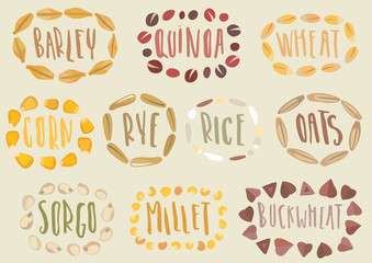 Vector set of cereal emblems. Handwritten lettering inside hand-drawn stylized circuit of grains. For packing groats, advertising healthy food.