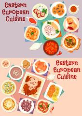 Eastern european cuisine icon set for food design