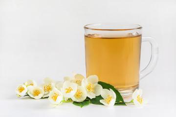 Tea and jasmine flowers