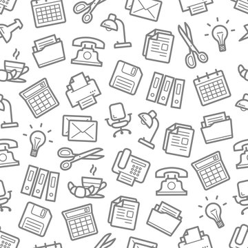 Vector seamless pattern of office work supplies
