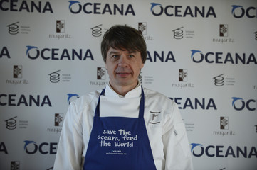 """Chef Joachim Wissler poses during the presentation of """"Save the Ocean Feed the World"""" at the Basque Culinary Centre in San Sebastian"""