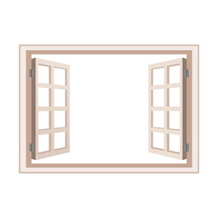 open window frame wooden design vector illustration
