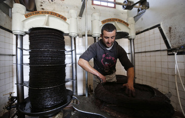 Worker prepares to extract oil from olive paste at a traditional olive oil processing factory in the eastern village of Tazmelt