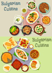 Bulgarian cuisine lunch dishes icon set design