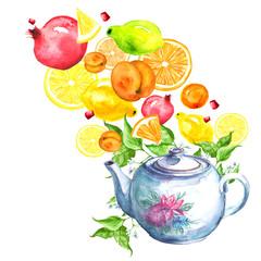 Watercolor postcard with vintage pattern - porcelain teapot with flowers. Fruit tea, Citrus drink, orange, mandarin, Pomegranate, peach, apricot, Lemon, lime, slice, splash. Branch with leaves