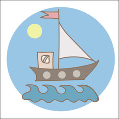 Soft color ship with flag and sun