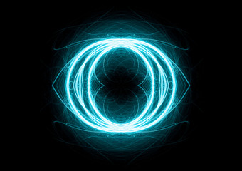 Cyan circle lightning, abstract electric element
