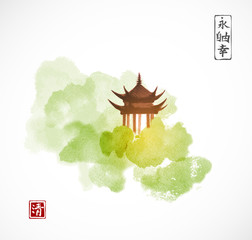 Pagoda temple and green forest trees on white background. Traditional oriental ink painting sumi-e, u-sin, go-hua. Contains hieroglyphs - eternity, freedom, happiness.