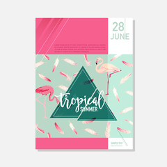 Brochure Template. Tropical Flowers and Parrots Summer Graphic Background, Exotic Floral Banner, Invitation, Flyer or Card. Modern Front Page in Vector