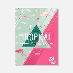 Tropical Flowers and Flamingo Bird Summer Graphic Background, Exotic Floral Banner or Card in Vector