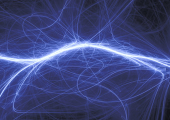 Blue lightning, abstract electric background