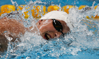 Ledecky from US swims during the women's 1500m freestyle heats at the Aquatics World Championships in Kazan