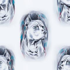 Seamless pattern of a beautiful dog on a white background.