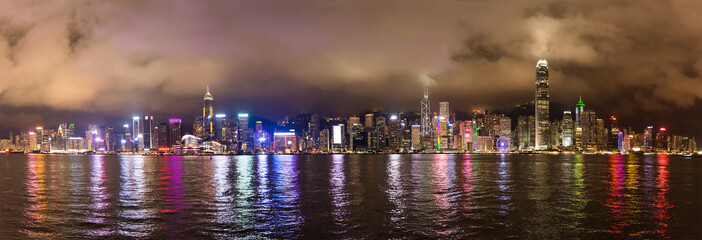 nightscape of Victoria Harbour in Hong Kong