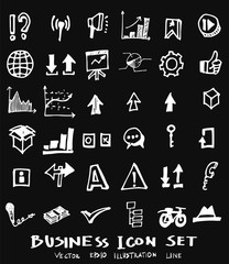 Business set sketch vector ink doodle on chalkboard eps10