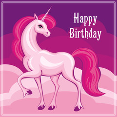 Happy birthday greeting card with the image of a beautiful fantastic unicorn. Colorful vector background.