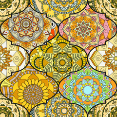 Colorful tiles boho seamless pattern. Mandala background. Abstract flower ornament. Floral wallpaper, furniture, textile print, hippie fabric. Romantic decoration from weave design elements.