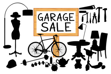 Garage sale illustration. Wood sign panel and homerelated items silhouettes.