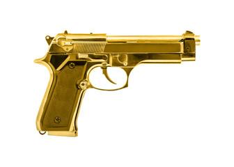 Isolated golden pistol on white background