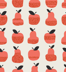 seamless pattern with apples, pears and leaves