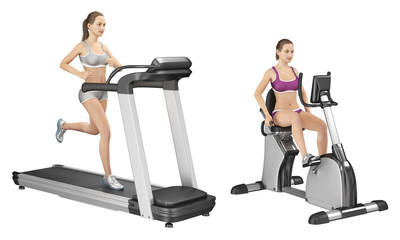 Girl on an exercise bike and a girl on a treadmill. Set of 3d images isolated on white