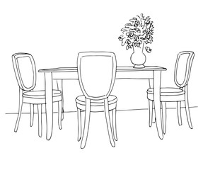 Part of the dining room. Table and chairs.On the table vase of flowers. Hand drawn sketch.Vector illustration.