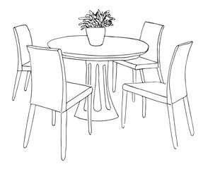 Part of the dining room. Round table and chairs.On the table vase of flowers. Hand drawn sketch. Vector illustration.