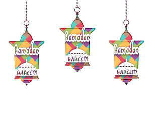 Ramadan Kareem The inscription. Mosaic. Three lanterns in oriental style hang on chains. Cut out the paper on a white background. illustration