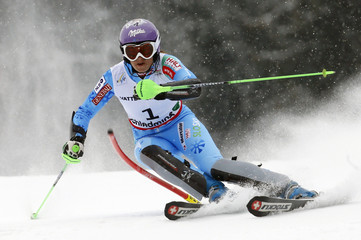 Tina Maze of Slovenia skis during the first run of the women's Slalom race at the World Alpine Skiing Championships in Schladming