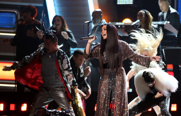"""Demi Lovato performs the Bee Gees' """"Stayin Alive"""" at the 59th Annual Grammy Awards in Los Angeles"""