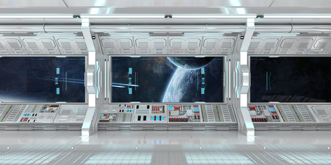 Spaceship interior with view on distant planets system 3D rendering elements of this image furnished by NASA