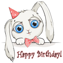 Cute cartoon rabbit with big eyes on white background