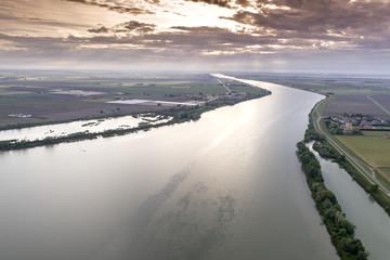 Po delta region landscape in italy sunset