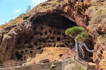 Cave troglodytes, monastery of Valerón. Gran Canaria, Spain