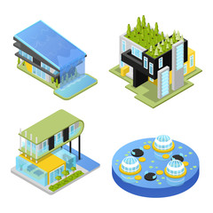 Futuristic Private Houses. Modern Architecture. Isometric vector flat 3d illustration
