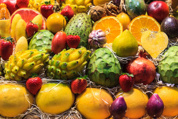 Still life of tropical fruits in the market of Las Palmas de Gran Canaria. Spain.
