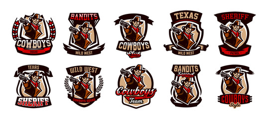 A set of colorful emblems, logos, cowboy with a revolver. Wild West, a bandit, a robber, a sheriff, a gunfight. Vector illustration