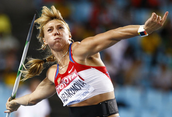 Abakumova of Russia competes during the women's javelin throw final at the IAAF World Championships in Daegu