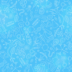 Seamless background on a theme of biology and education, light contour on blue background