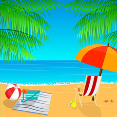 Beach view with an umbrella, palm leaves and slippers vector illustration. Tropical background.