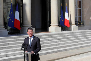 French Prime Minister Manuel Valls delivers a speech in the courtyard of the Elysee Palace in Paris