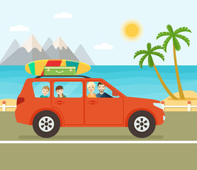 Funny red car with surfboard and suitcases on a beach with palms behind. Family trip by car. Vector flat illustration