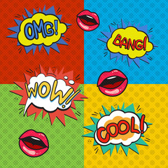 Pop art logos set. Retro style collection. Vector pop art illustration. Comic style logos. Pop art comics icon. Wording speech bubbles and lips.