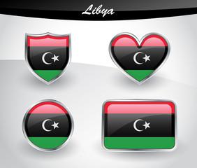 Glossy Libya flag icon set
