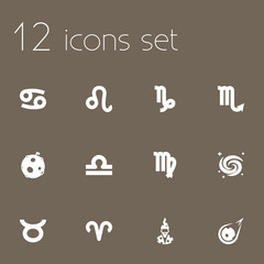 Set Of 12 Astronomy Icons Set.Collection Of Virgin, Scales, Bull And Other Elements.
