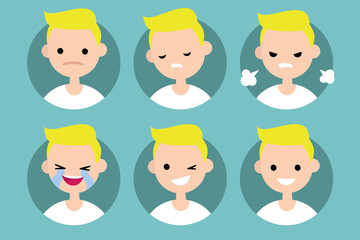 Blonde pale man profile pics / Set of flat vector portraits: upset, offended, angry, laughing, winking, smiling